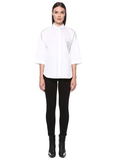 NetWork Kadın 1077408 Cep Detaylı Truvakar Kol Gömlek Beyaz